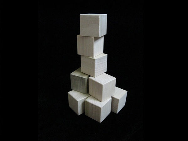 "4 Natural Wood Handmade Blocks - 1.5"" square cubes"