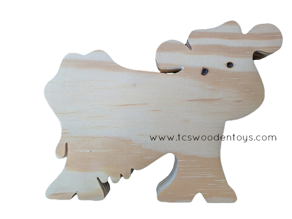 WC101 Chunky Wooden Cutout Pretend Play Farm Animal Cow Toy
