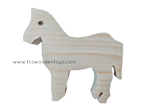 WC102 Chunky Wooden Cutout Pretend Play Farm Animal Horse Toy