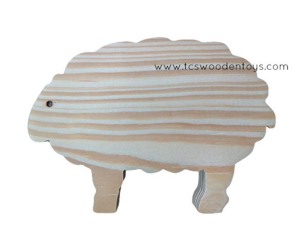 WC103 Chunky Wooden Cutout Pretend Play Farm Animal Sheep Toy