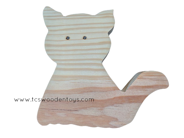 WC105 Chunky Wooden Cutout Pretend Play Farm Animal Cat Toy