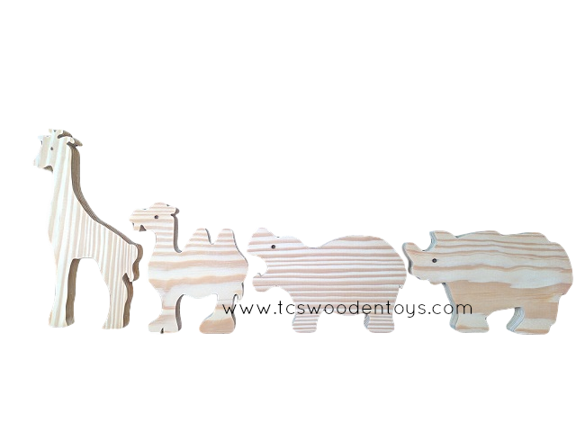WC1204SET Stand-up Wooden Zoo Safari Pretend Play Toy Animals