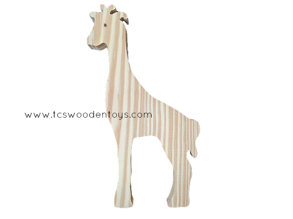 WC121 Chunky Wooden Cutout Pretend Play Zoo Safari Animal Giraffe Toy