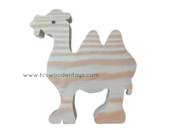 WC124 Chunky Wooden Cutout Pretend Play Zoo Safari Animal Camel Toy