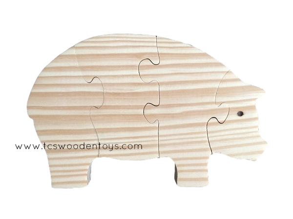 WP104 Chunky Wooden Farm Pig Toy Puzzle