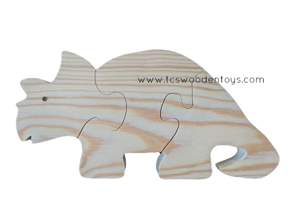 WP113 Chunky Wooden Triceratops Dinosaur Animal Puzzle