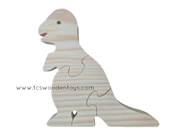 WP114 Chunky Wooden T-Rex Dinosaur Animal Puzzle