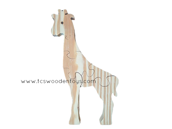 WP121 Chunky Wooden Cutout Zoo Safari Animal Giraffe Puzzle