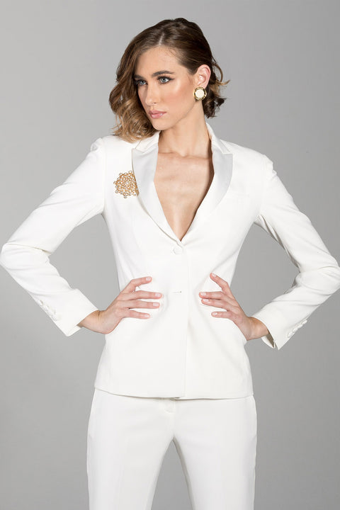 Diamond White Peak Lapel Tuxedo Jacket