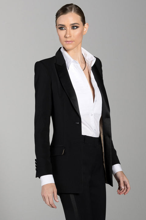 Black Peak Lapel Long Tuxedo Jacket