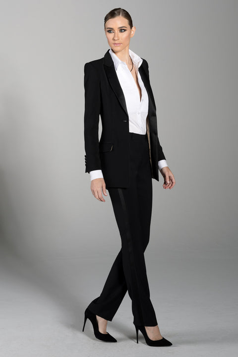 Black Peak Lapel Long Tuxedo Jacket - Women's Tuxedo Suits | girls prom tuxedo | gal tux | Wedding Party, Bridesmaids