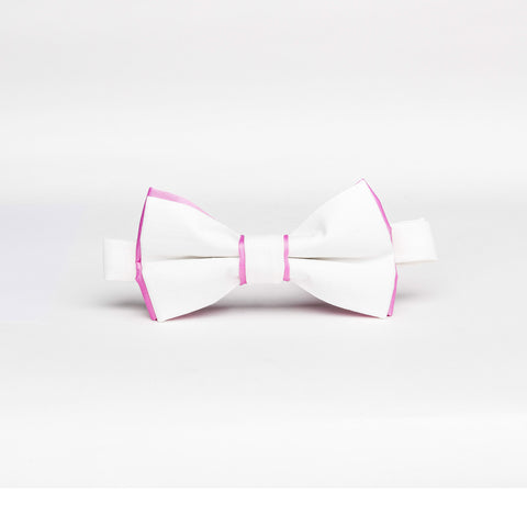 Light Ivory & Pink Trim Micro/Poly Bow Tie - Women's Tuxedo Suits | girls prom tuxedo | gal tux | Wedding Party, Bridesmaids