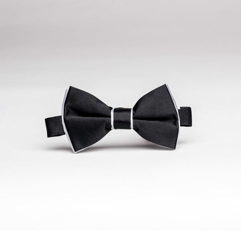 Black & Silver Trim Poly/Satin Bow Tie - Women's Tuxedo Suits | girls prom tuxedo | gal tux | Wedding Party, Bridesmaids