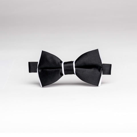 Satin Black & White Trim Bow Tie