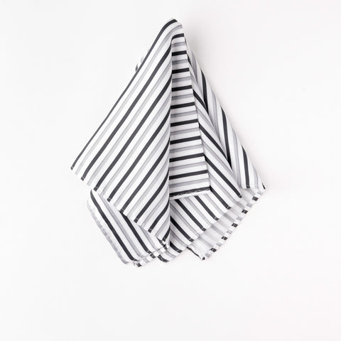 Satin Black Gray White Striped Pocket Square