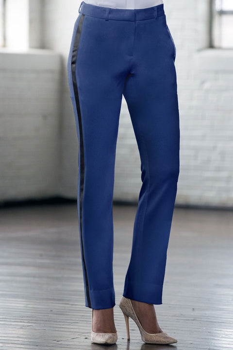 Navy & Black Slim Fit Tuxedo Pants