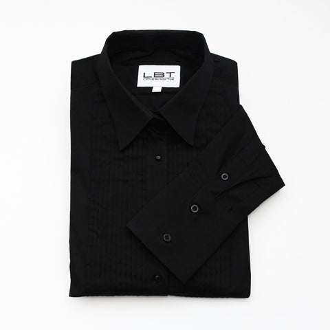 Black Laydown Collar Tuxedo Shirt