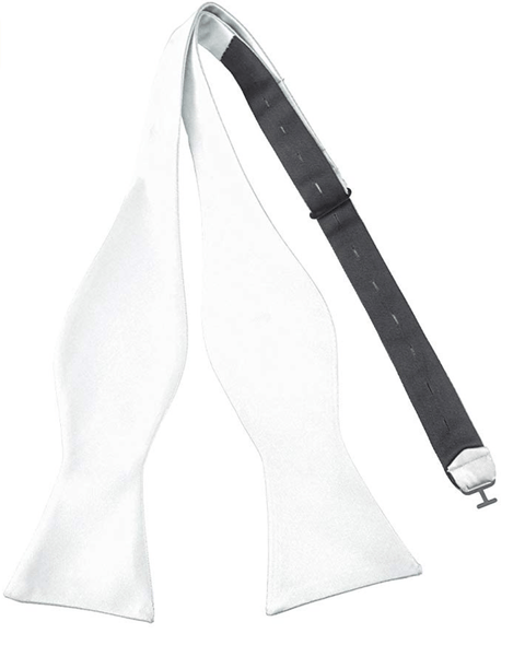 White Satin Self-Tie Bow Tie