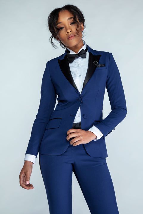 Navy & Black Peak Lapel Tuxedo Jacket - Women's Tuxedo Suits | girls prom tuxedo | gal tux | Wedding Party, Bridesmaids