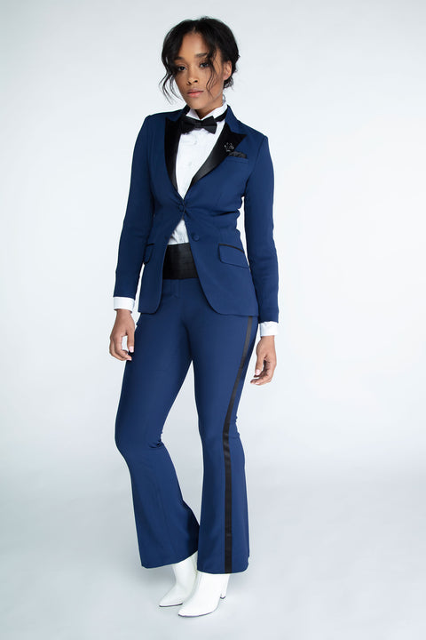 Navy & Black Peak Lapel Tuxedo Jacket
