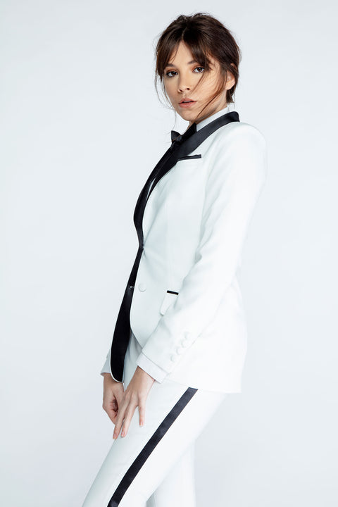 Diamond White & Black Shawl Collar Tuxedo Jacket