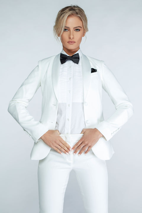 Diamond White Shawl Collar Tuxedo Jacket - Women's Tuxedo Suits | girls prom tuxedo | gal tux | Wedding Party, Bridesmaids