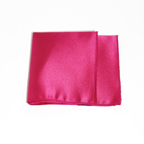 Fuchsia Poly/Satin Pocket Square