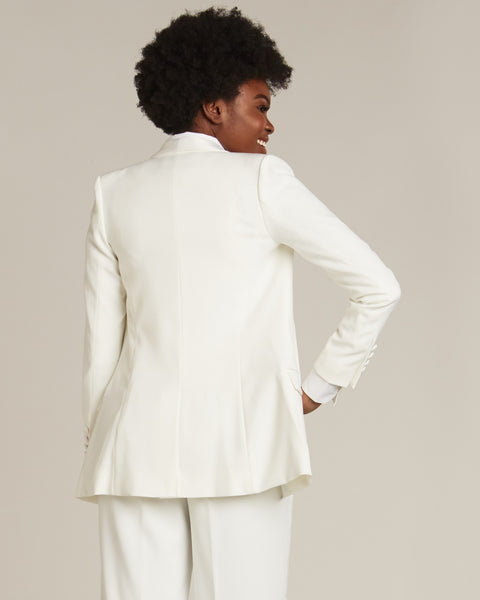 Diamond White Shawl Collar Long Tuxedo Jacket