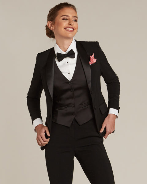 Black Shawl Collar Tuxedo Jacket - Women's Tuxedo Suits | girls prom tuxedo | gal tux | Wedding Party, Bridesmaids