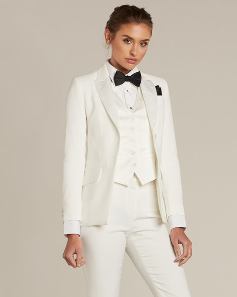 Diamond White Peak Lapel Tuxedo Jacket - Women's Tuxedo Suits | girls prom tuxedo | gal tux | Wedding Party, Bridesmaids