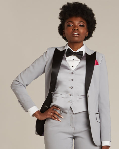 Silver Gray & Black Peak Lapel Tuxedo Jacket