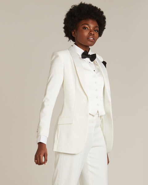Diamond White Shawl Collar Long Tuxedo Jacket - Women's Tuxedo Suits | girls prom tuxedo | gal tux | Wedding Party, Bridesmaids