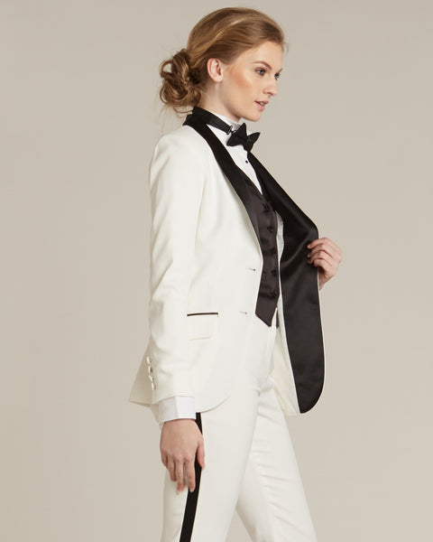 Diamond White & Black Shawl Collar Tuxedo Jacket - Women's Tuxedo Suits | girls prom tuxedo | gal tux | Wedding Party, Bridesmaids