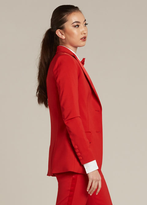 Red Peak Lapel Tuxedo Jacket - Women's Tuxedo Suits | girls prom tuxedo | gal tux | Wedding Party, Bridesmaids