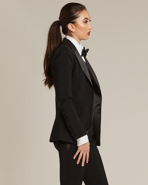 Black Peak Lapel Tuxedo Jacket - Women's Tuxedo Suits | girls prom tuxedo | gal tux | Wedding Party, Bridesmaids