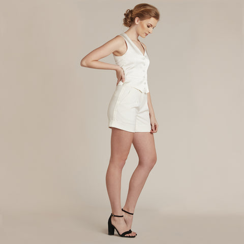 Diamond White Pocketed Tuxedo Shorts