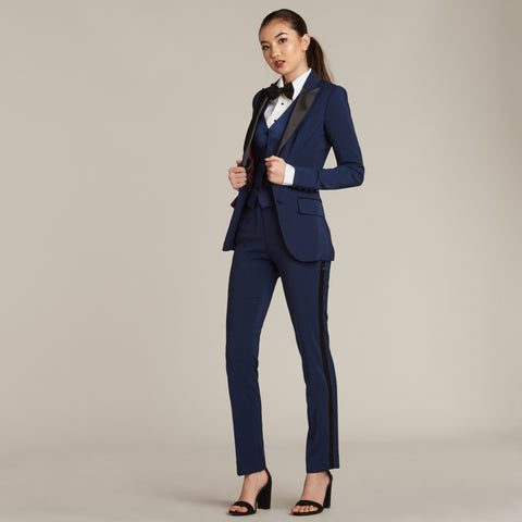 Navy & Black Slim Fit Tuxedo Pants - Women's Tuxedo Suits | girls prom tuxedo | gal tux | Wedding Party, Bridesmaids