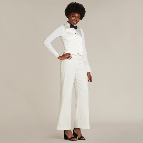 Diamond White Straight / Wide Fit Tuxedo Pants - Women's Tuxedo Suits | girls prom tuxedo | gal tux | Wedding Party, Bridesmaids