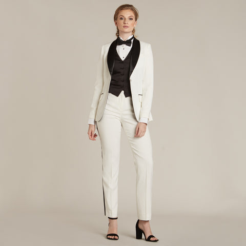 Diamond White & Black Slim Fit Tuxedo Pants - Women's Tuxedo Suits | girls prom tuxedo | gal tux | Wedding Party, Bridesmaids