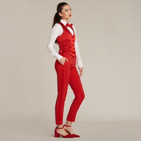 Red Tuxedo Vest - Women's Tuxedo Suits | girls prom tuxedo | gal tux | Wedding Party, Bridesmaids