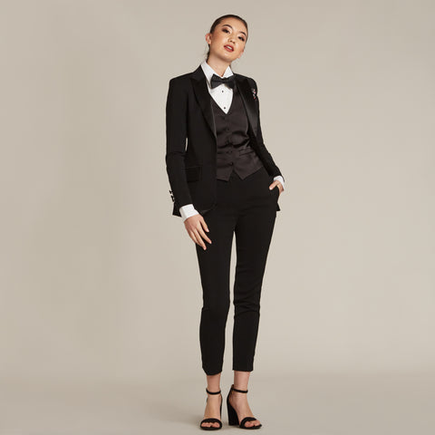 Black Ultra Slim Fit Tuxedo Pants - Women's Tuxedo Suits | girls prom tuxedo | gal tux | Wedding Party, Bridesmaids
