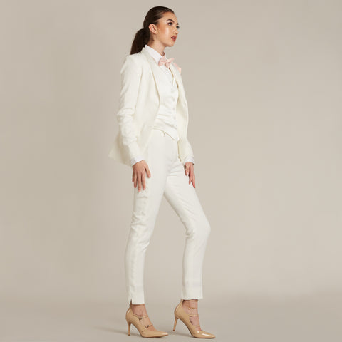 Diamond White Shawl Collar Tuxedo Jacket