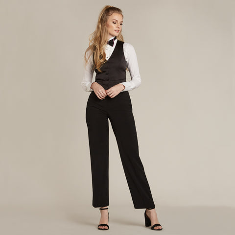 Black Straight / Wide Fit Tuxedo Pants