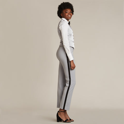 Silver Gray & Black Slim Fit Tuxedo Pants - Women's Tuxedo Suits | girls prom tuxedo | gal tux | Wedding Party, Bridesmaids
