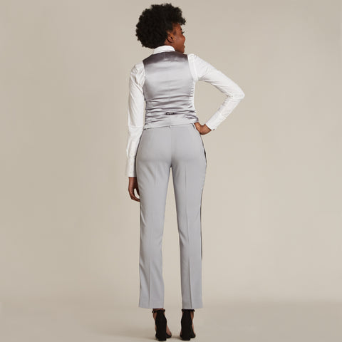 Silver Gray & Black Slim Fit Tuxedo Pants