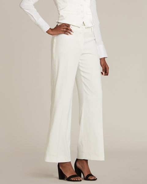 Diamond White Straight / Wide Fit Tuxedo Pants