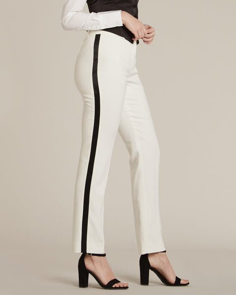 Diamond White & Black Slim Fit Tuxedo Pants