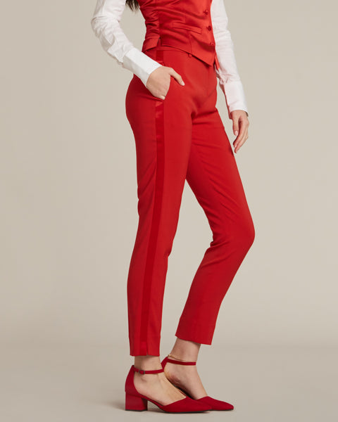 Red Ultra Slim Fit Tuxedo Pants