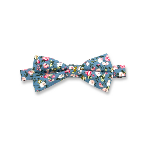 Teal Floral Cotton Bow Tie