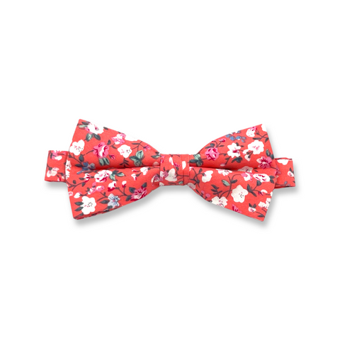 Pink Floral Cotton Bow Tie